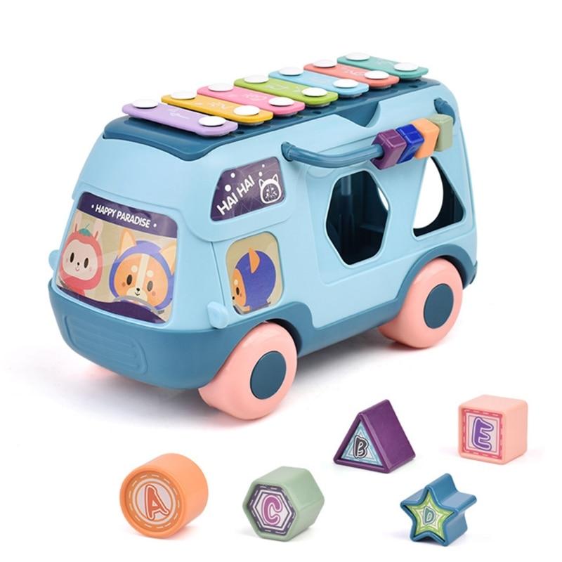 Musical Instrument Baby Toy Knock Piano Music Bus Shape Sorter Kids Sound Perception Hand Eye Coordination Development Gift