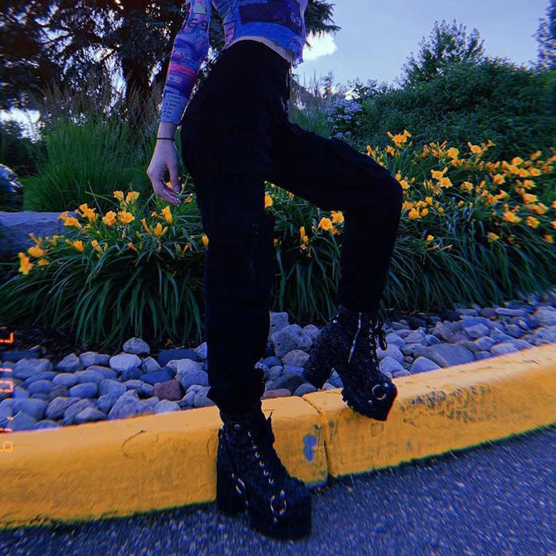 Calças de cintura alta solta joggers feminino exército harem camo calças streetwear punk preto carga calças femininas capris calças coreano ins