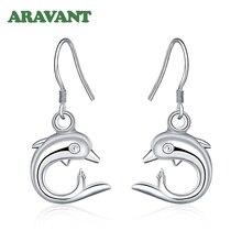 Dolphin Earrings Jewerly Dangle 925-Silver Fashion Women Cute for Girls Gifts
