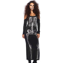 Halloween Scary Costumes For Women Long Sleeve Dress Horror Skeleton Costume Clothes Deguisement Femme