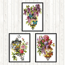Cross Stitch Flowers Style 14CT DMC Counted Ptinted on Canvas Embroidery Kits Wall Art DIY Crafts Needlework