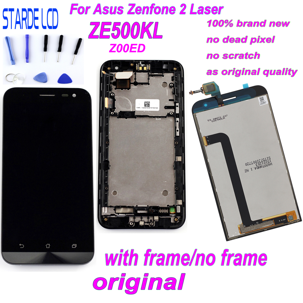 Starde 5.0'' LCD For Asus Zenfone 2 Laser ZE500KL Z00ED LCD Display Touch Screen Digitizer Assembly With Frame And Free Tools