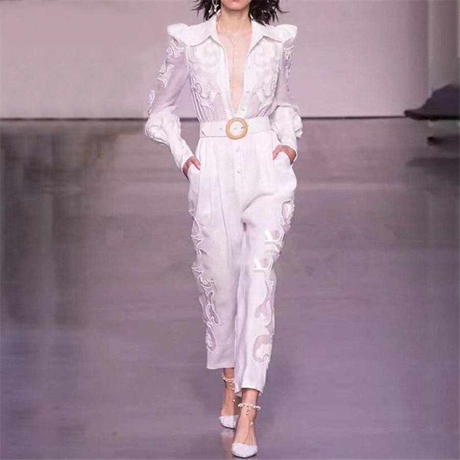 Automne 2019 date body manches longues combishorts mode Nova femme coton blanc broderie haute qualité femmes combinaisons