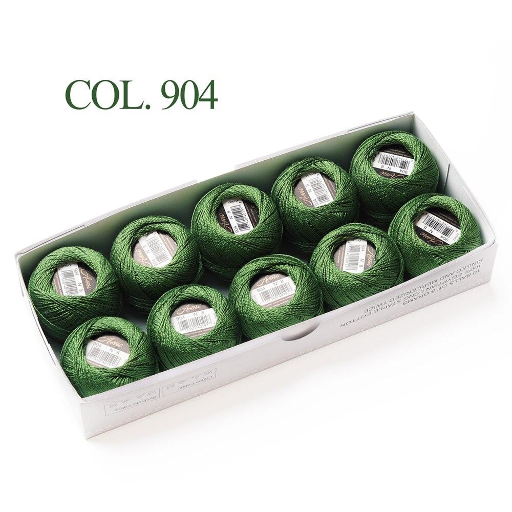 Размер 8 жемчужный хлопок крючком нить 43 ярдов Двойной Мерсеризованный длинноштапельный Египетский хлопок 79 DMC цвета доступны 10 коробка с шариками - Цвет: 904