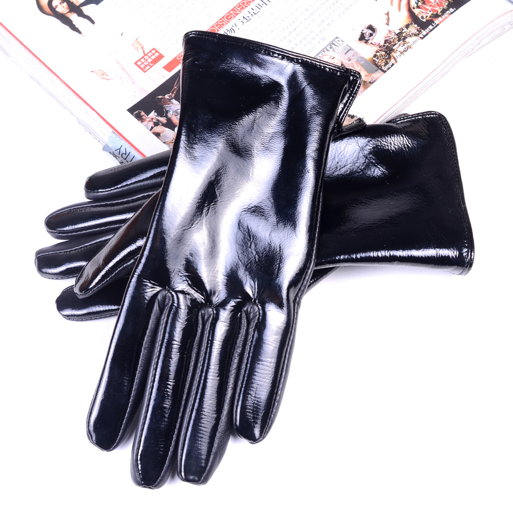 Women's Ladies Real Patent Leather Shiny Black Woolen Lining Winter Warm Touch Screen Short Gloves