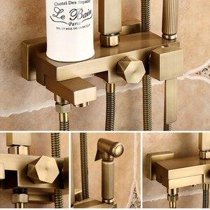 Image 3 - Antique Bronze Rain Shower Set with Bidet Spray Bathroom Rainfall Shower Faucet Soild Brass with Hand Shower ELS4102