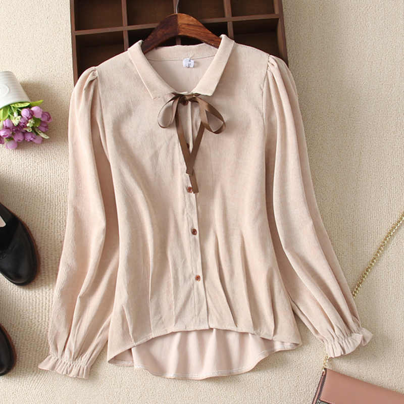 Soperwillton Women Tops Blouses 2019 Autumn Fashion Corduroy Long Sleeve Blouse Shirt Bow Turn-down Cllar Chiffon Blouse Shirts