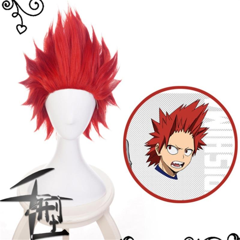 Meu herói academia cosplay peruca kirishima eijiro traje boku nenhum herói academia festa de halloween midoriya amigo cabelo vermelho perucas