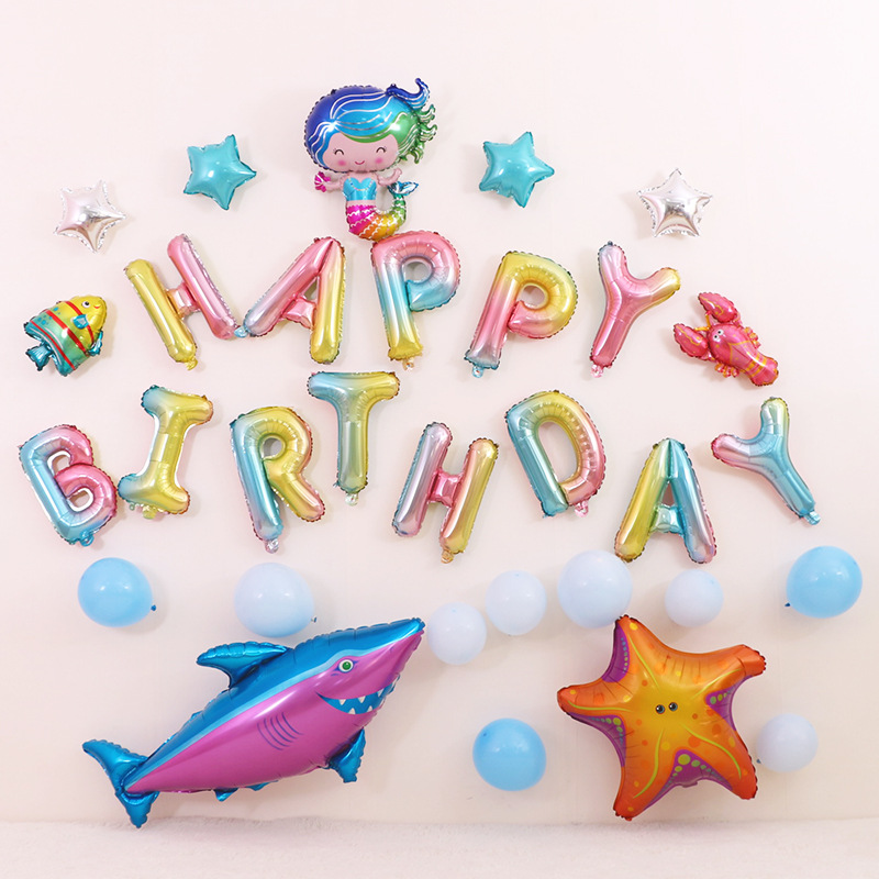 Ocean Theme Baby Party Decorations Set Newborn Baby Boys Girls Birthday Party Baby Shower Party Children's Day