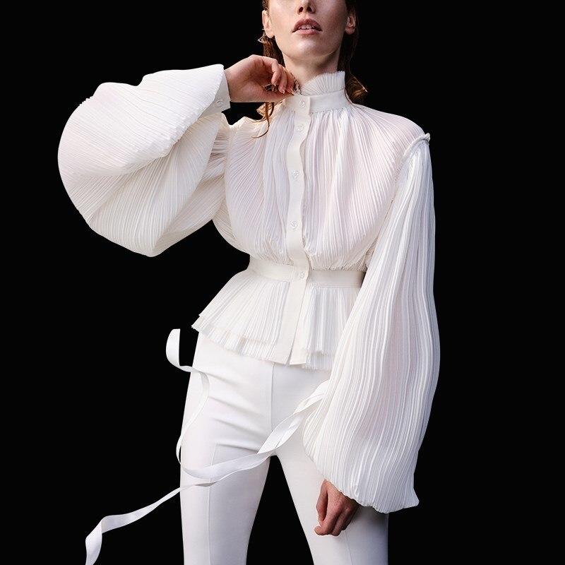 Women Chiffon Blouse Stand Collar Lantern Sleeve High Waist Tunic Pleated Shirt