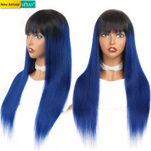 Sexay Ombre Human Hair Wigs With Bangs Silky Straight Brazilian Wig Dark Blue Colored Fringe Human Hair Wigs Machine Made Remy(China)