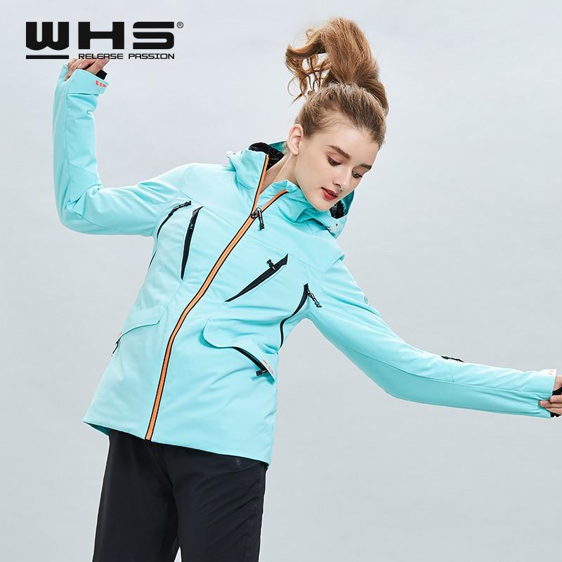 Windproof And Waterproof Outdoor Single Board Double Board Ski Suit Women's Pure Color Mint Green Fashion Warm Top Coat, Jacket