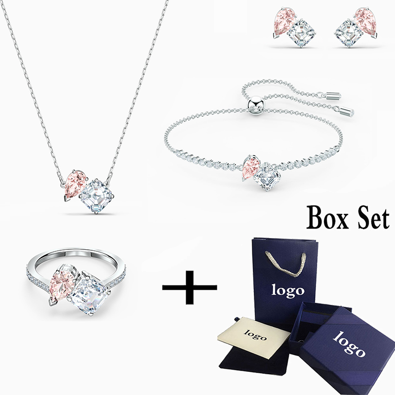 2020 New Fashion High Quality Attract Soul Pink Bracelet Necklace Set Original Suitable for Women Jewelry Romantic Gifts