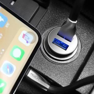 Image 5 - Chargeur de voiture universel en alliage de Zinc de haute qualité de chargeur de voiture en métal dusb de la roche 4.8A double pour des téléphones portables