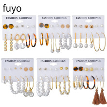 fuyo Tassel Acrylic Earrings For Women Bohemian Earrings Set Big Geometric Stud Earring Brincos Female DIY Fashion Jewelry 2019