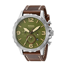 Fossil Nate Men's Chronograph Watch with Brown Leather Strap