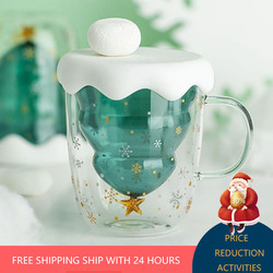 Creative Transparent Double Anti-Scald Glass Tree Star Coffee Milk Juice Cup Children Christmas Gift 2021 New Year Decorations