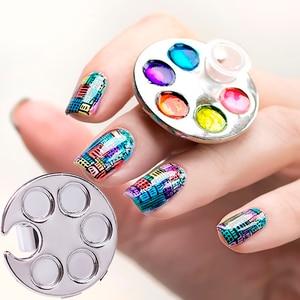 1 Pc Nail Art Ring Palette Finger Ring Plate Acrylic UV Gel Polish Cream Foundation Mixing Drawing Nail Art Equipment Tools