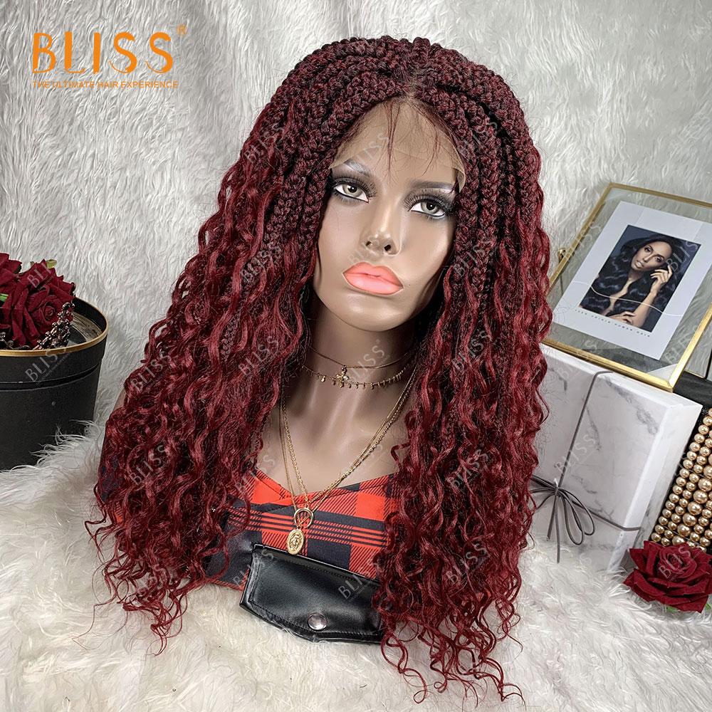 BLISS su dalgası kıvırcık toptan örgülü dantel peruk Perruque ağaçları Africaine sentetik saç örgülü dantel peruk siyah kadınlar için