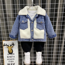 Jackets Kids Denim Outerwear Coat Jean Lambswool Autumn Boys Winter New Turn-Down Warm