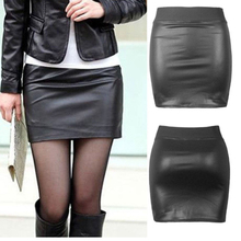 Pencil-Skirts Sexy Leather Elegant High-Waist Mini Women Casual Summer Chic Pu Solid