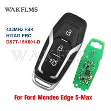 3 düğmeler akıllı kart uzaktan araba anahtarı 433MHz Ford Mondeo kenar için s max Galaxy 2014 2018 ile HITAG PRO çip hiçbir işareti DS7T 15K601 D