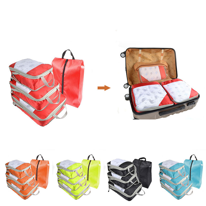 Compression Packing Cubes Travel Luggage Organizer Waterproof Double Zip Men Women Nylon Hand Luggage Foldable Travel Bag