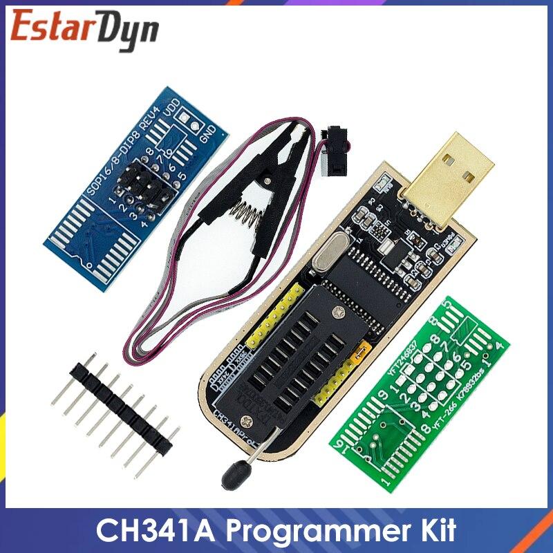USB-программатор CH341A 24 25 серия EEPROM, модуль программатора с флэш-BIOS + зажим SOIC8 SOP8 для проверки EEPROM 93CXX / 25CXX/24CXX, набор «сделай сам»