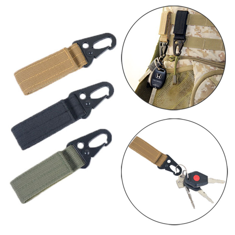 Keychain Hook Snap Tactical Bag Molle Strap Belt Clips Nylon Webbing Buckle Outdoor Climbing Carabiners Quickdraws EDC Tools