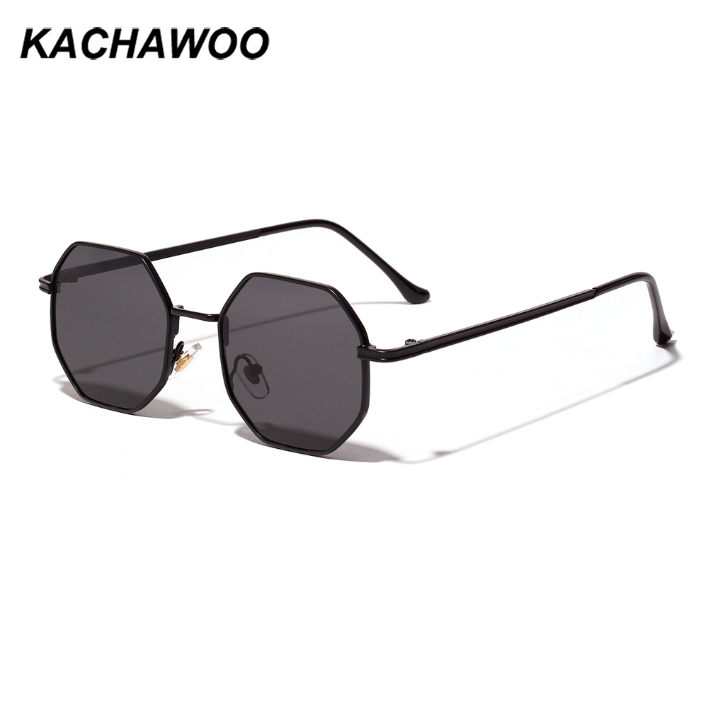 Kachawoo octagon sunglasses women gold black brown small sun glasses for men polygon metal frame birthday present male uv400
