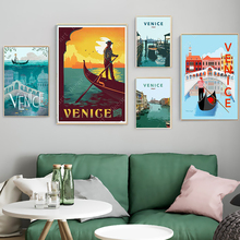 Italia agua ciudad Venecia viajes pinturas Vintage cuadro cartel de papel Kraft recubierto pegatinas de pared decoración del hogar regalo