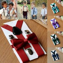Для маленьких мальчиков дети пояс с бантом комплект твердые дети Y сзади подтяжки галстук бабочка эластичный дети мода