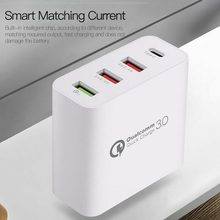 Wall Charger Adapter 4 Ports Type C USB Quick Charge for Home Office FKU66