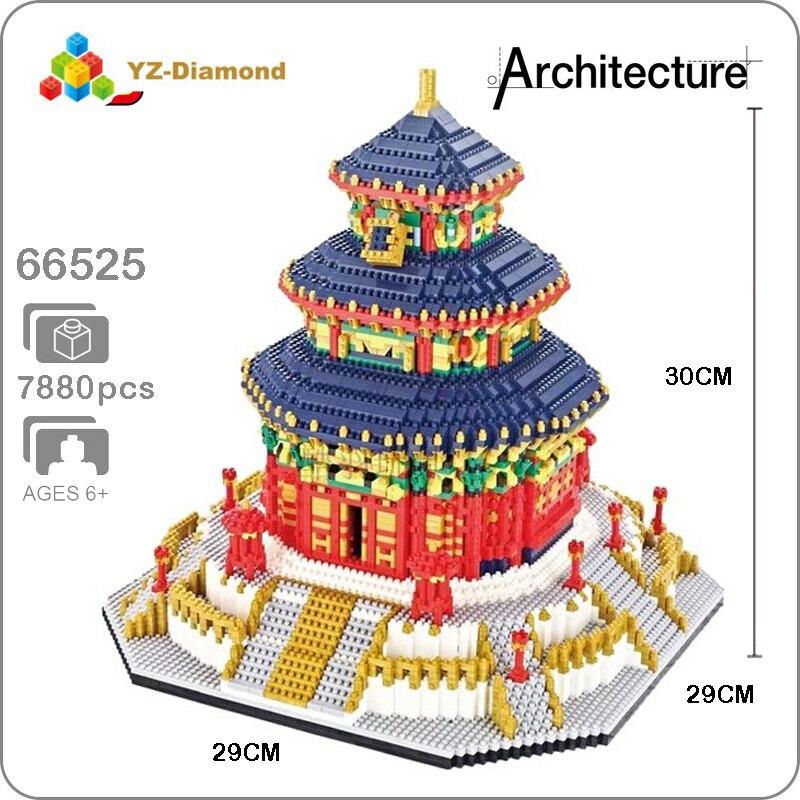 YZ World Famous Architecture China The Temple of Heaven 3D Mini DIY Diamond Building Small Blocks Bricks Toy for Children no Box