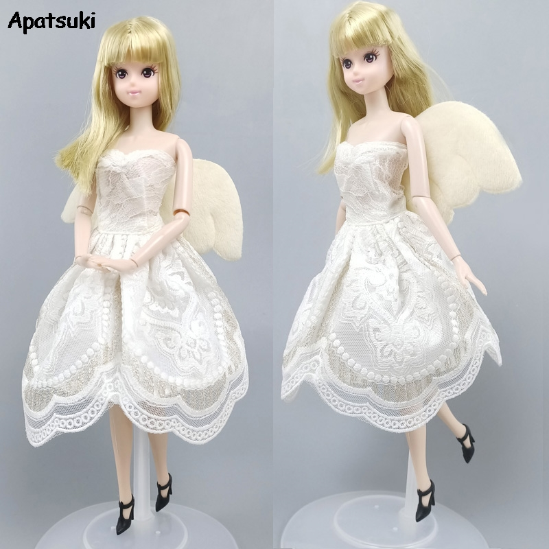 Angel Wing Lace Doll Clothes For Barbie Dress Gown Short Dresses Outfits For Barbie Dollhouse 1/6 Doll Accessories Kids