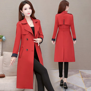 Winter Women Elegant Long Coat With Belt Solid Color Long Sleeve Chic Outerwear Ladies Overcoat 4XL