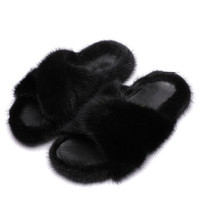 Women 100% Imported Mink Hair Cross Slippers Women 2020 Autumn And Winter Leather Thick Bottom Wool Shoes Lazy Outer Drag