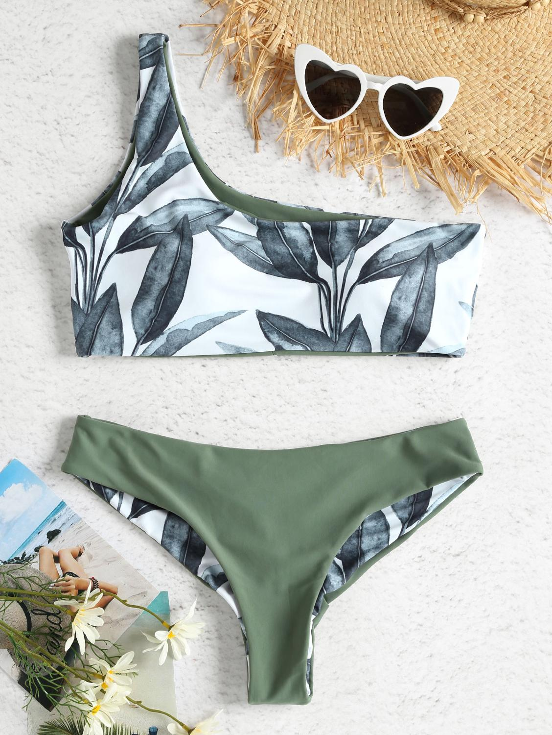 ZAFUL Women New One Shoulder Leaves Print Bikini Sexy Low Waisted Swimwear Swimsuit Summer Beach Bikini 2019 Biquini