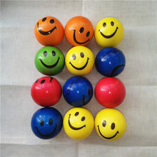 12pcs 6.3cm Squeeze Anti Stress Balls Smiley Face Colorful Soft PU Foam Balls Toys for Kids Children Wholesale / Custom Logo