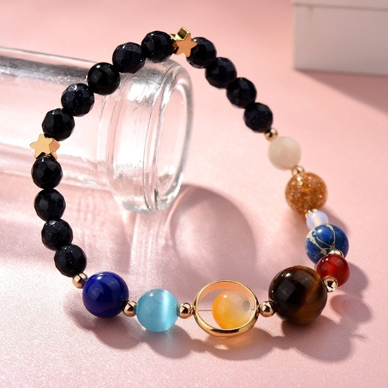 7 Charka Handmade Universe Galaxy Eight Planets Solar System Necklace for Women with Guardian Stars Stones Beads Bracelet Gifts