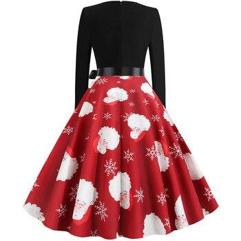 Women Christmas Long Sleeve Print Elegant Vintage Knee-length Party Dress Robe 2019 Autumn Winter Casual Plus Size Xmas Dress 3
