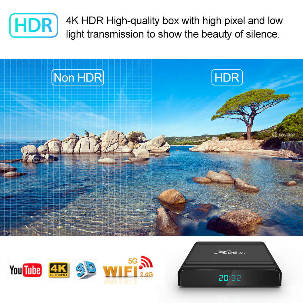 X96 Air Android TV Box Android 9.0 Amlogic S905X3 Smart TV Box 4K Android Box 4GB 64GB X96Air Quad Core 2.4G & 5G Wifi BT4.1 H.265