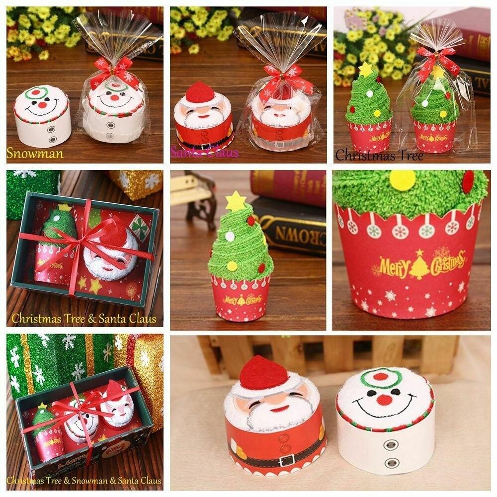 Cupcake Pure Cotton Towel Santa Claus//Christmas Tree Snowman Xmas Art Decoration