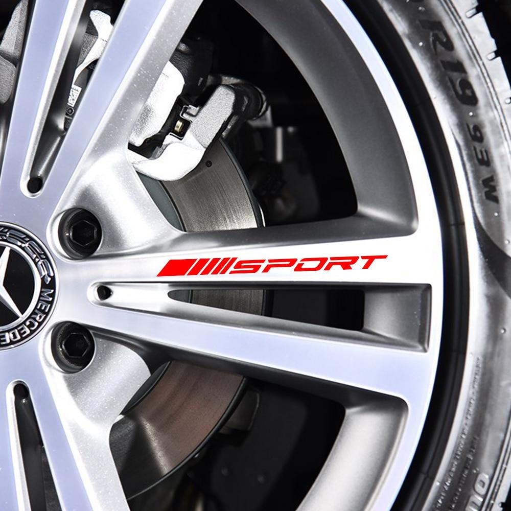 Mercedes Benz için W212 W205 W204 W203 W210 W211 W124 W214 AMG GLA GLC GLS GLE CLA A C E S sınıfı spor alaşım jantlar tekerlek çıkartmaları