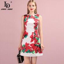 LD LINDA DELLA 2019 Autumn Women New Dress Runway Fashion Designer Sleeveless Flower Printed Elegant A-Line Mini Ladys Dresses