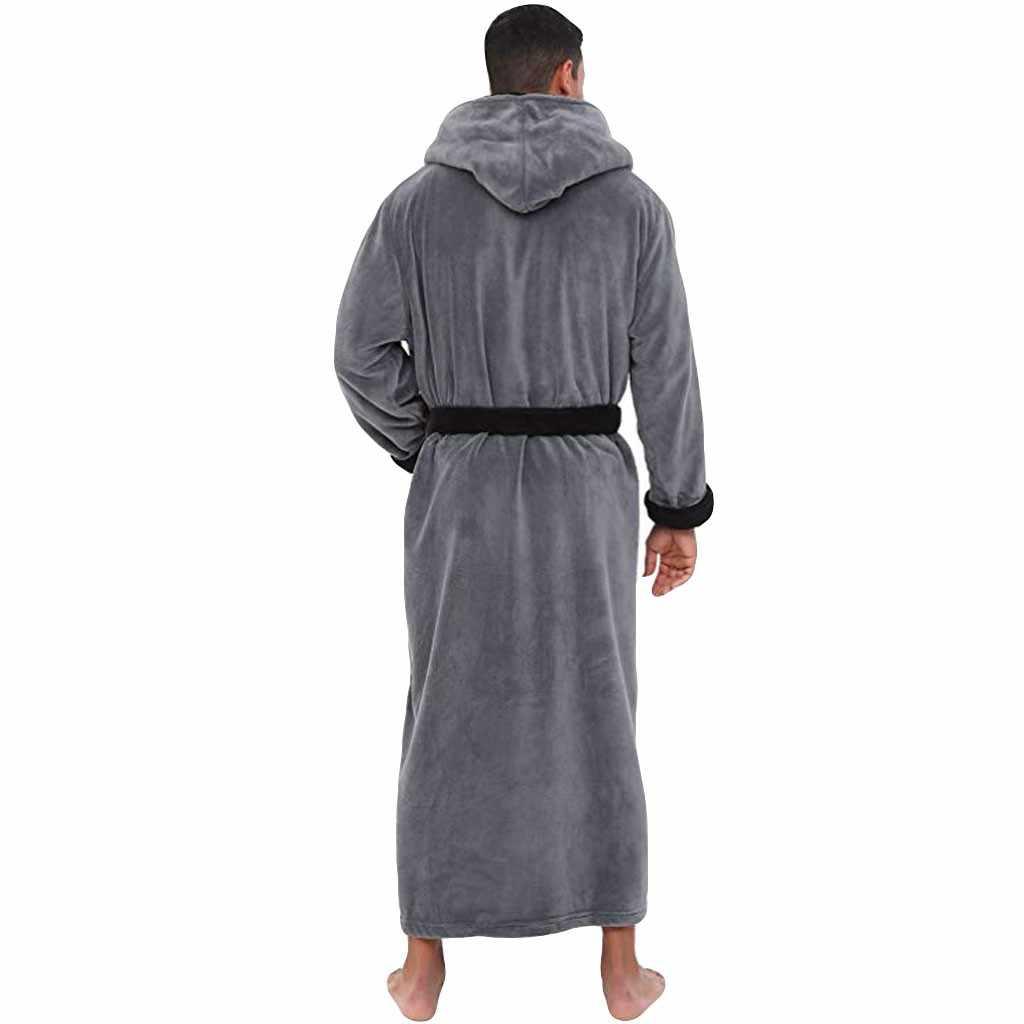 후드 티 망 목욕 가운 겨울 길어진 플러시 목도리 긴 소매 로브 플러스 사이즈 S-5XL 코트 남성 캐주얼 홈웨어