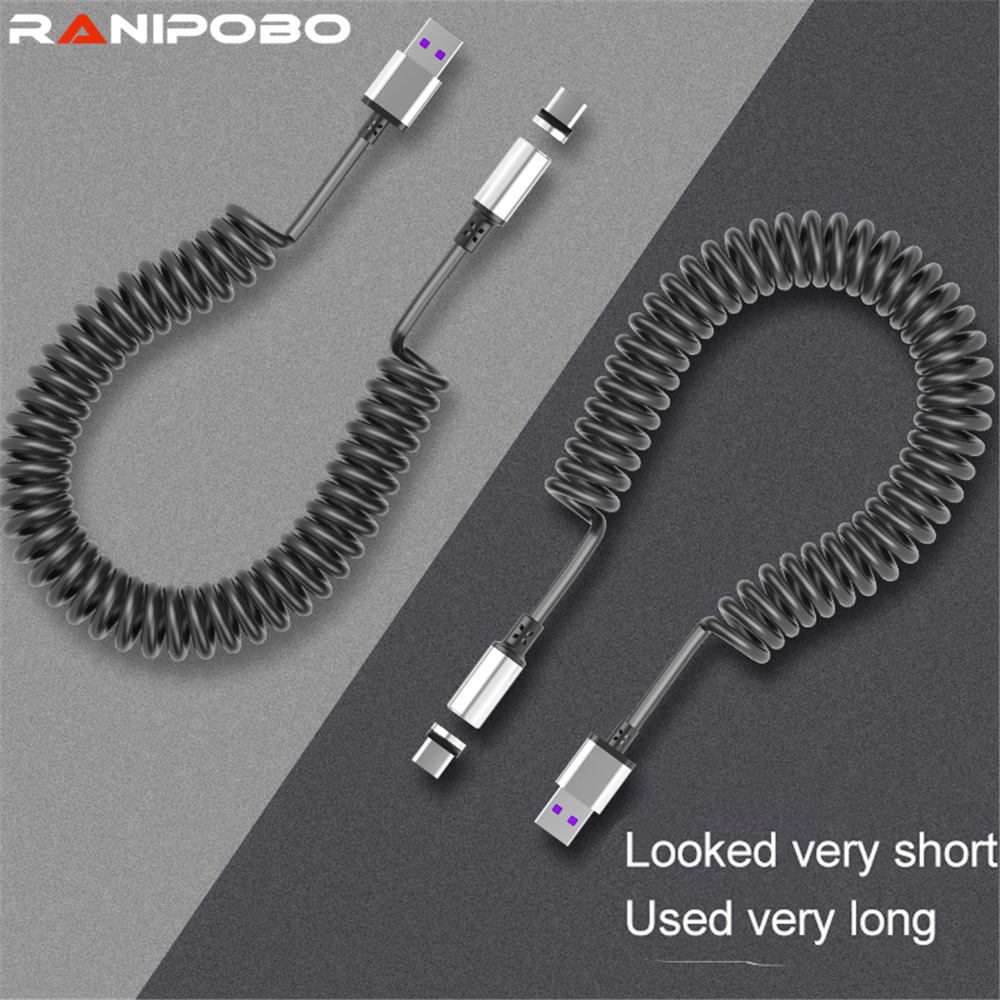 3A Magnetic Spring Cable Quick Charge 3.0 Retractable Micro USB Charger Type C Fast Charging For Huawei Samsung Xiaomi Android