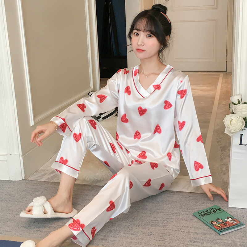 New 2019 Autumn Women's Pajamas Sets Flower Print Fashion Luxury Female Faux Silk Two Pieces Shirts Long Pants Sleepwear Set