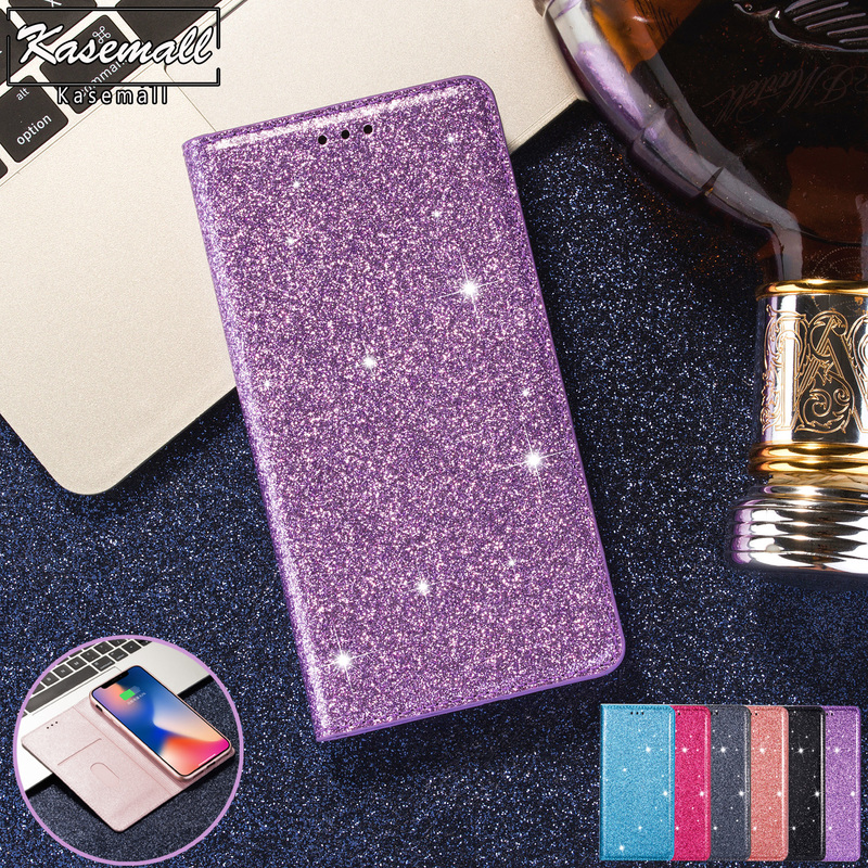 For <font><b>Samsung</b></font> Galaxy S9 S8 Plus S10e S10 <font><b>S7</b></font> <font><b>Edge</b></font> S6 Note 8 9 10 Bling Glitter Leather <font><b>Case</b></font> <font><b>Wallet</b></font> Flip Card Slot Stand Cover Coque image