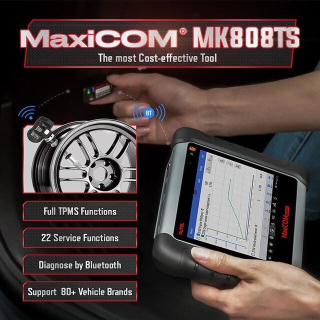 Autel MaxiCOM MK808TS Automotive OBD2 Car Diagnostic Scan Tool OBD 2 Bluetooth Scanner Programming TPMS MX Sensor PK MK808 TS608